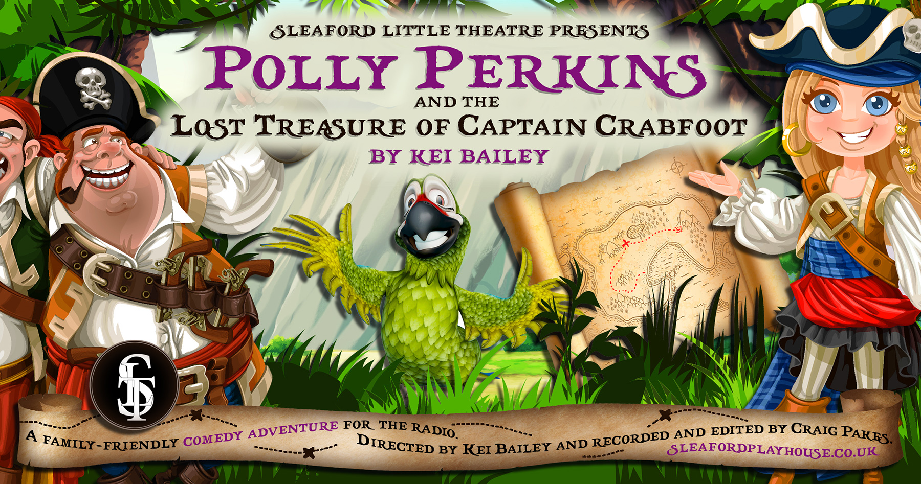 Polly Perkins and the Lost Treasure of Captain Crabfoot poster graphic